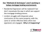 our methods techniques aren t working in todays mortgage lending environment