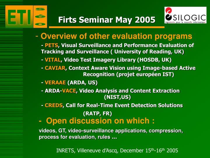 Firts Seminar May 2005