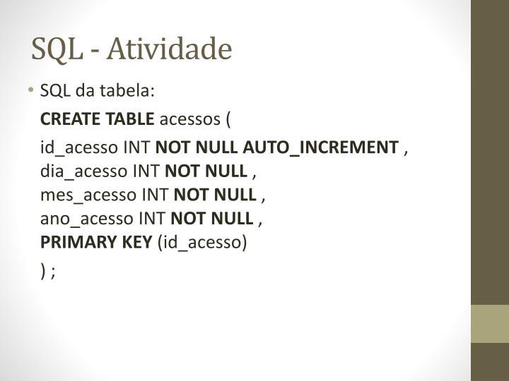 SQL - Atividade