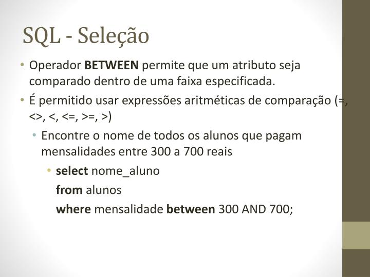 SQL - Seleção
