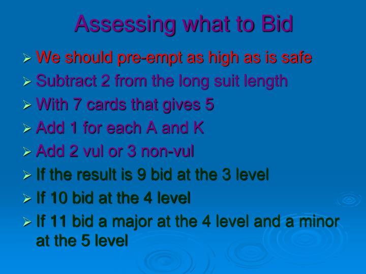 Assessing what to Bid