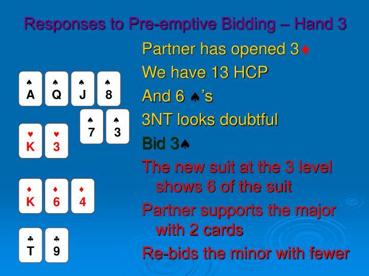 Responses to Pre-emptive Bidding – Hand 3