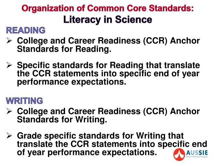 Organization of common core standards literacy in science