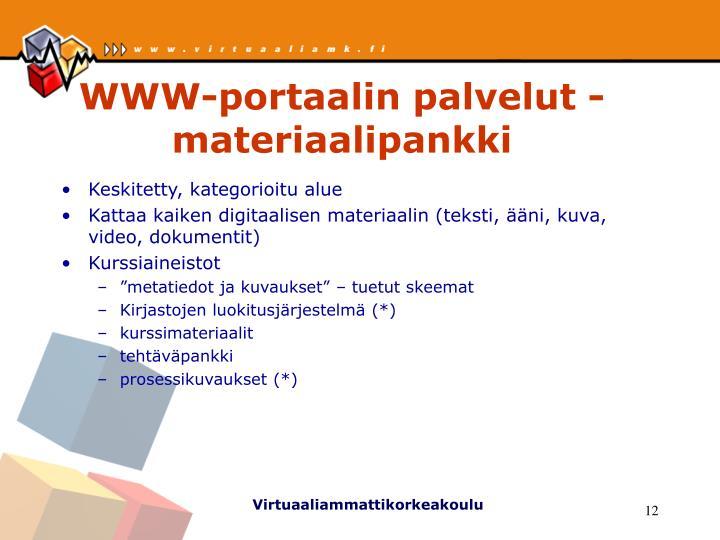 WWW-portaalin palvelut - materiaalipankki