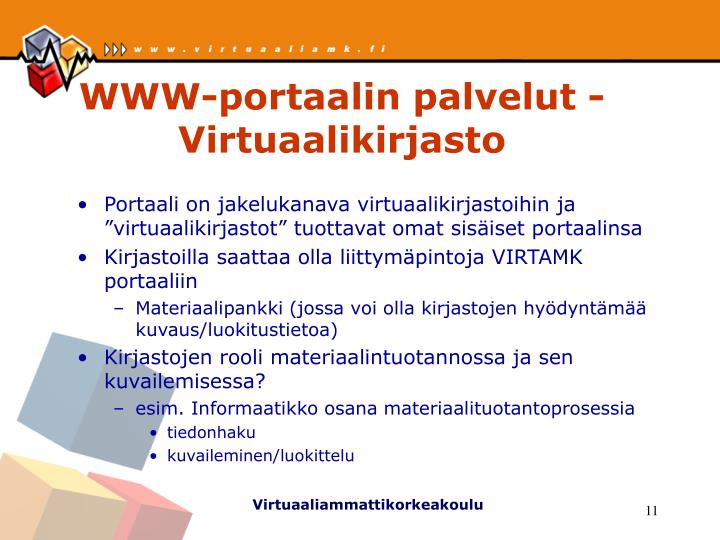 WWW-portaalin palvelut - Virtuaalikirjasto