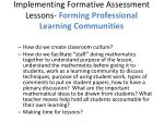 implementing formative assessment lessons forming professional learning communities