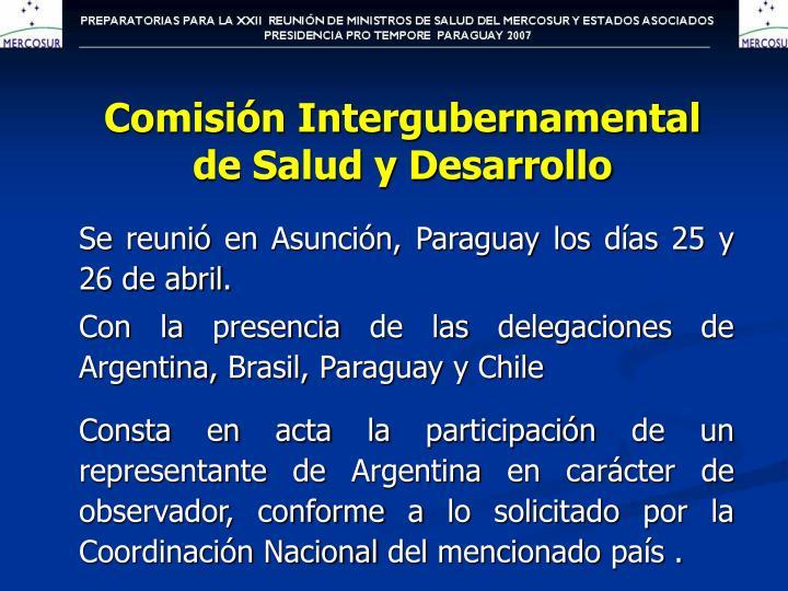 Comisi n intergubernamental de salud y desarrollo
