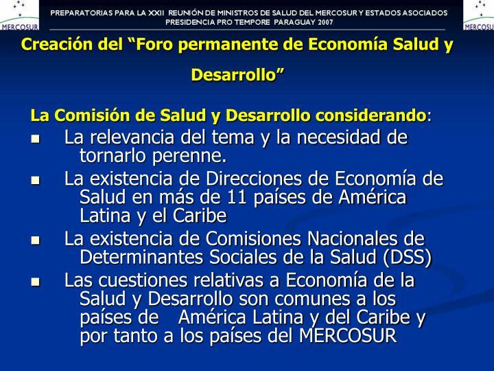 """Creación del """"Foro permanente de Economía Salud y Desarrollo"""""""