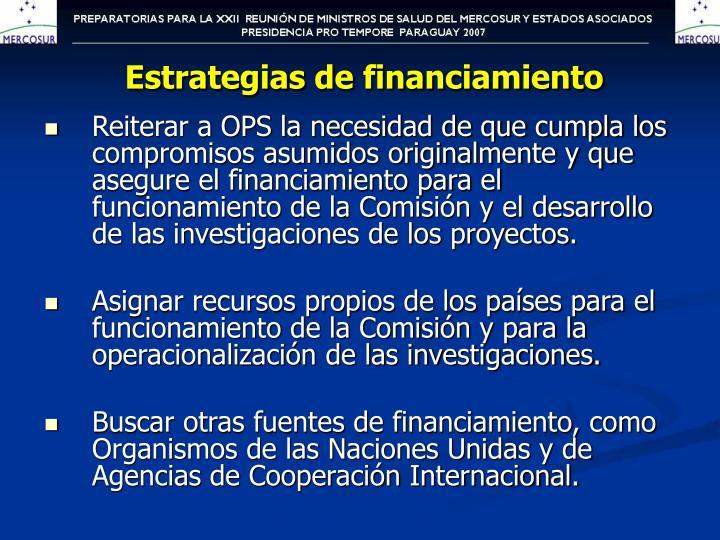 Estrategias de financiamiento