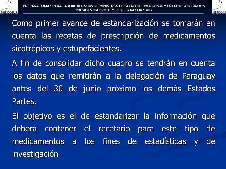 Como primer avance de estandarización se tomarán en cuenta las recetas de prescripción de medicamentos sicotrópicos y estupefacientes.