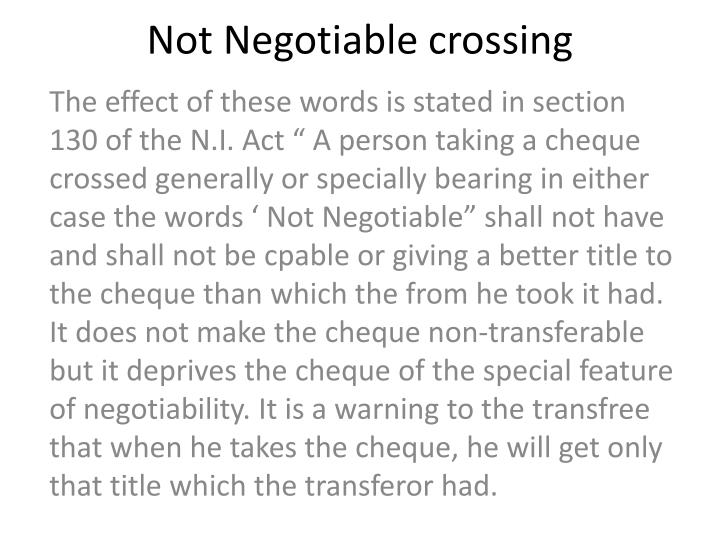 what does not negotiable mean on a cheque