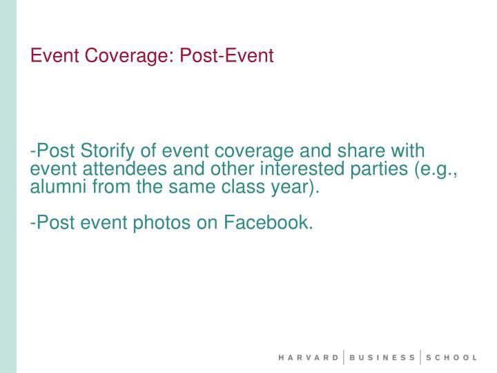 Event Coverage: Post-Event