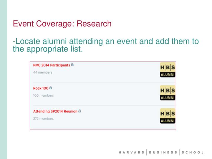 Event Coverage: Research
