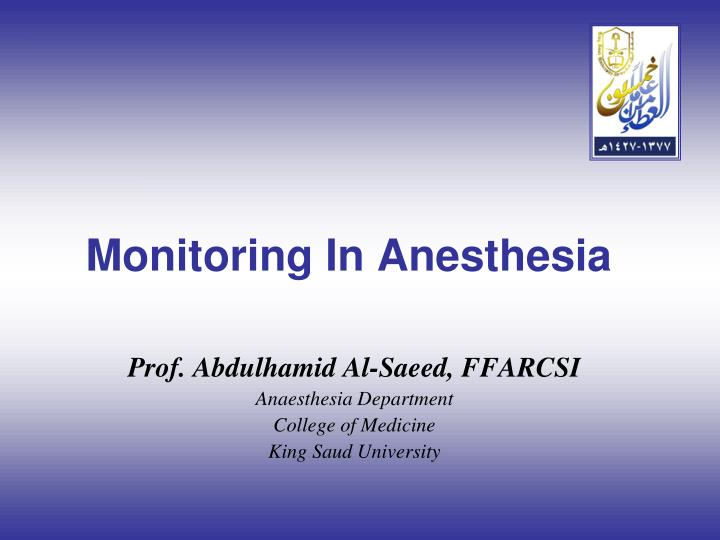 monitoring in anesthesia n.