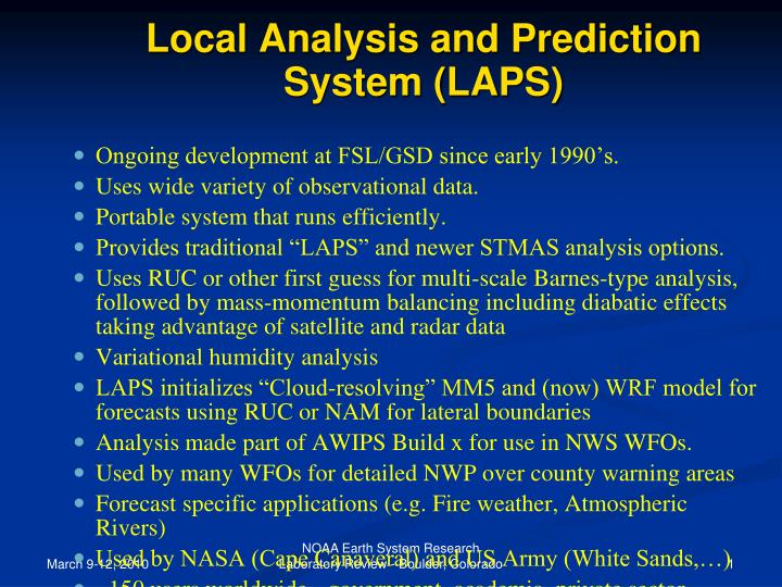 local analysis and prediction system laps n.