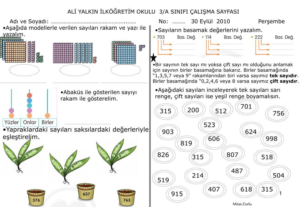 Ppt Ali Yalkin Ilkogretim Okulu 3 A Sinifi Calisma Sayfasi