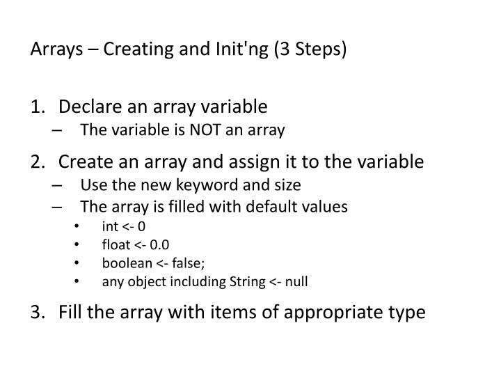 Arrays – Creating and