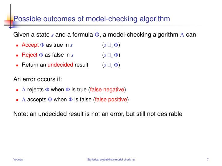 Possible outcomes of model-checking algorithm