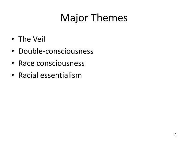 double consciousness essay example Double consciousness is a term describing the internal conflict experienced by subordinated groups in an oppressive society it was coined by w e b du bois with reference to african american double consciousness, including his own, and published in the autoethnographic work, the souls of black folk.