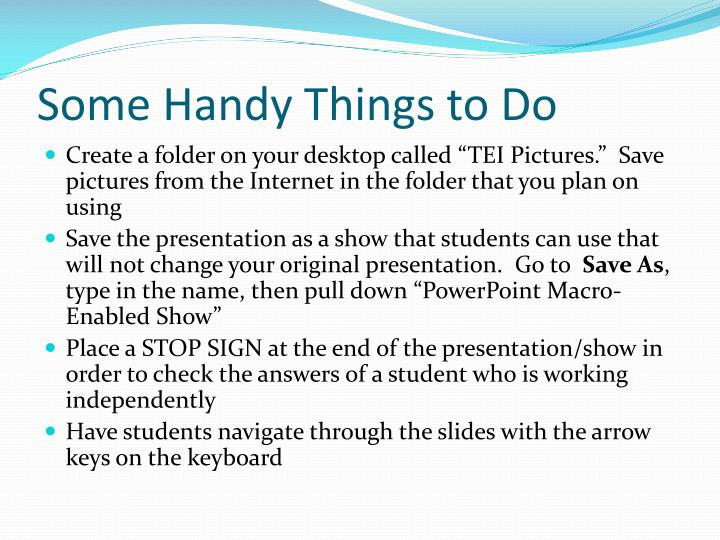 Some Handy Things to Do