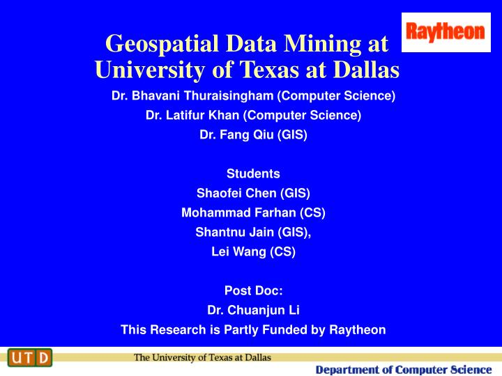 geospatial data mining research papers 2004 Research papers and reports access could be identified after mining had occurred this research was conducted as of geospatial technologies in mining and.