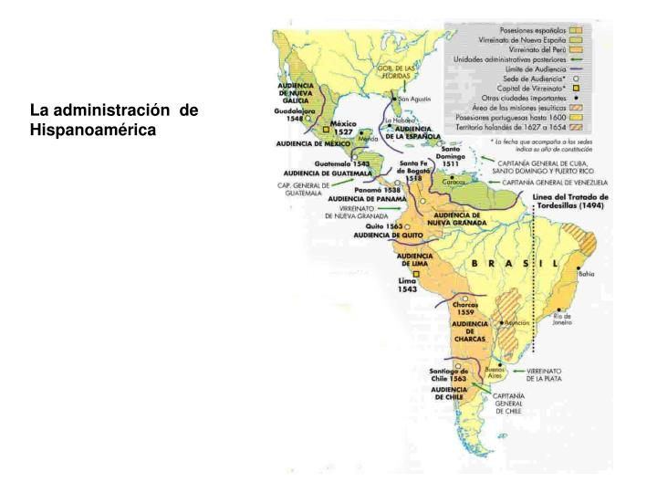 La administración  de Hispanoamérica