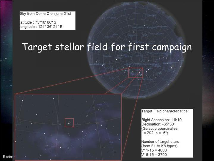 Target stellar field for first campaign