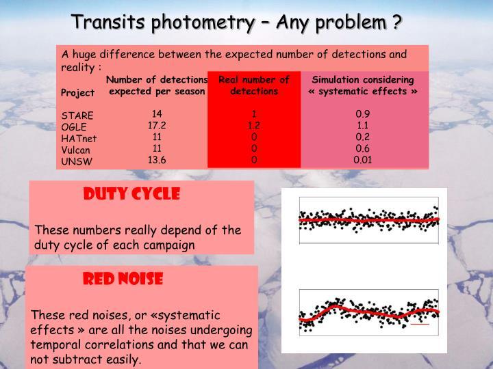 Transits photometry – Any problem ?