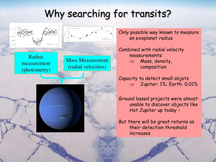 Why searching for transits?