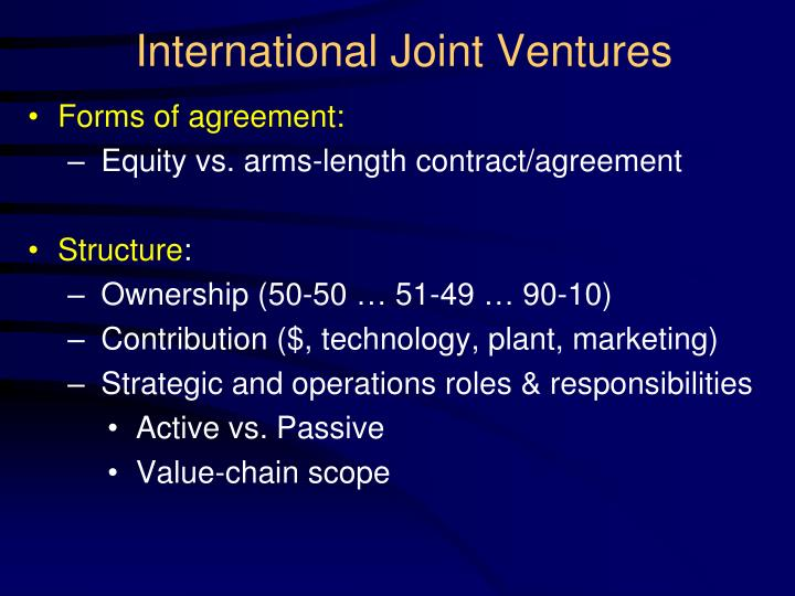 marketing and joint ventures A joint venture is a strategic alliance between two or more individuals or entities to engage in a specific project or undertaking partnerships and joint ventures can be similar but in fact can have significantly different implications for those involved.