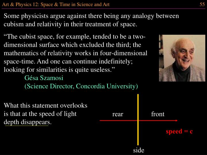 Some physicists argue against there being any analogy between cubism and relativity in their treatment of space.