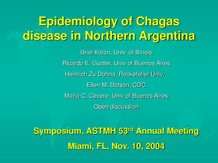 Epidemiology of chagas disease in northern argentina