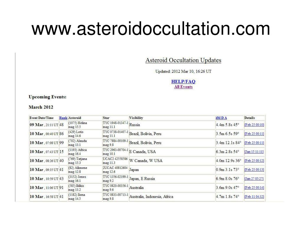 PPT - Observing Asteroid Occultations PowerPoint