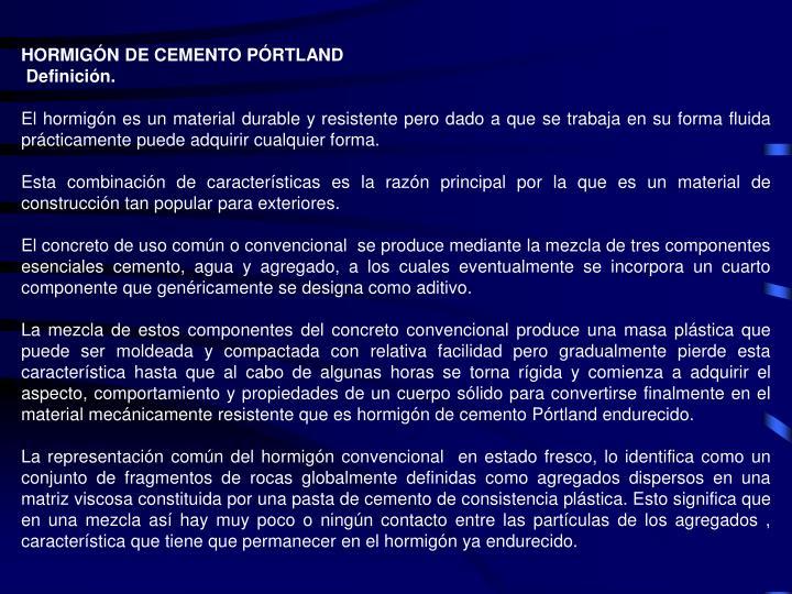 HORMIGÓN DE CEMENTO PÓRTLAND