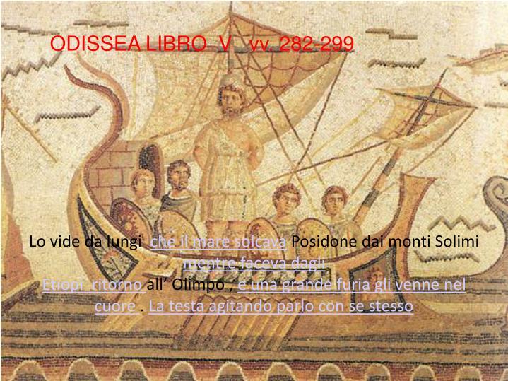 ODISSEA LIBRO  V   vv. 282-299