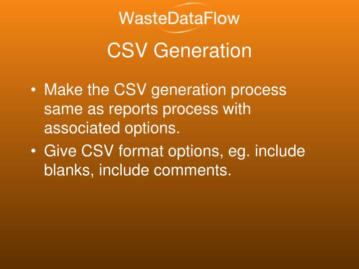 CSV Generation