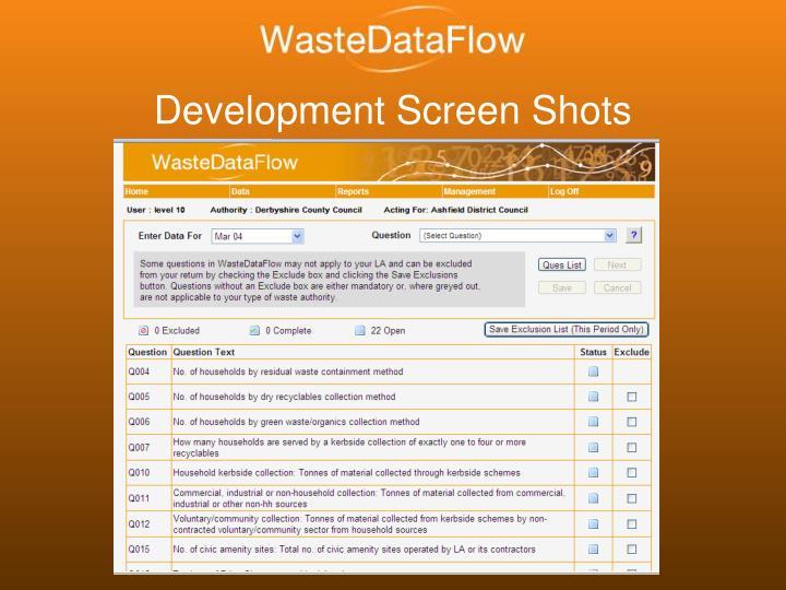 Development Screen Shots