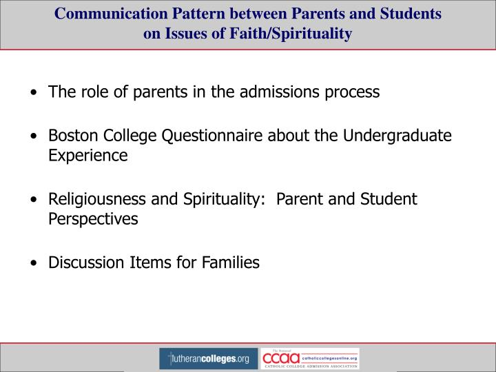 Communication Pattern between Parents and Students