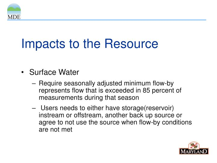 Impacts to the Resource
