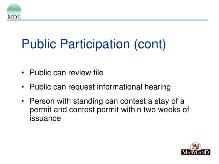 Public Participation (cont)