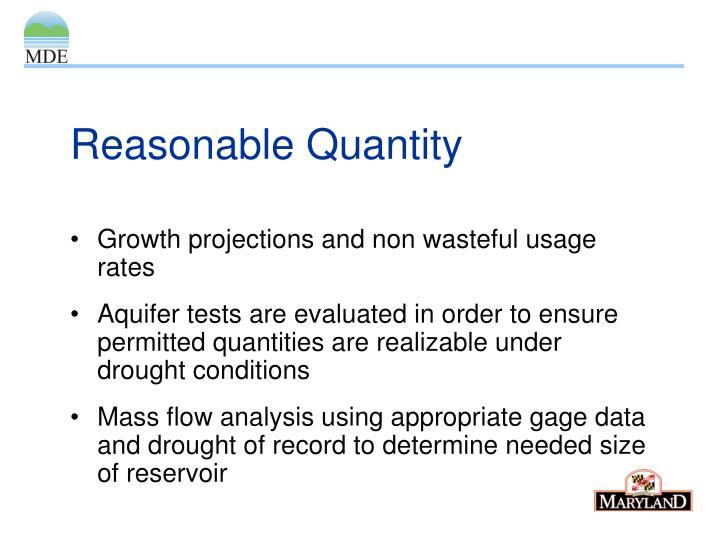 Reasonable Quantity