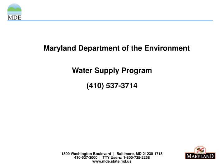 1800 Washington Boulevard     Baltimore, MD 21230-1718