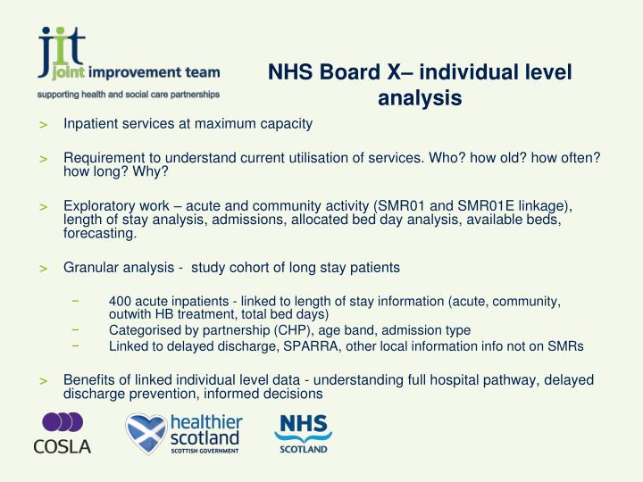 NHS Board X– individual level analysis
