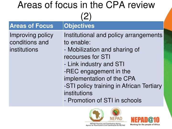 Areas of focus in the CPA review (2)