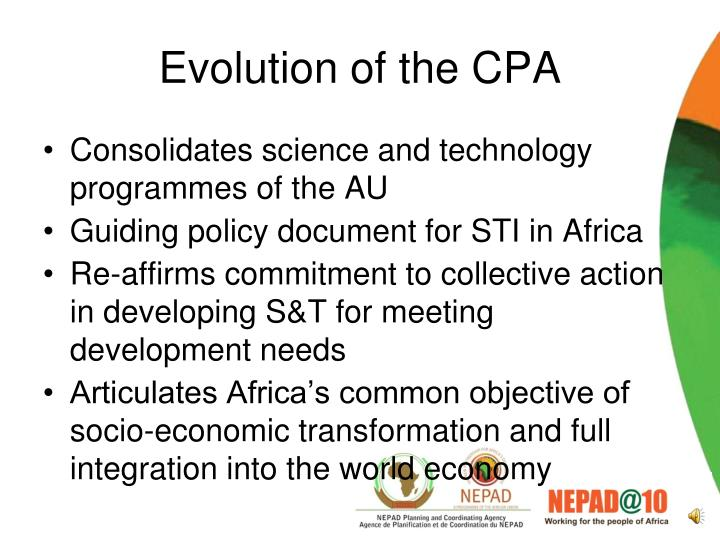 Evolution of the cpa
