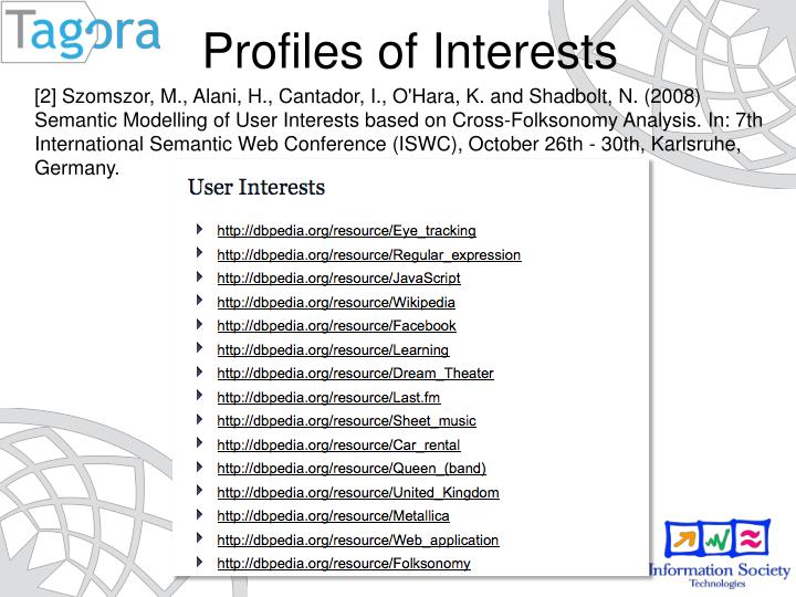 [2] Szomszor, M., Alani, H., Cantador, I., O'Hara, K. and Shadbolt, N. (2008) Semantic Modelling of User Interests based on Cross-Folksonomy Analysis. In: 7th International Semantic Web Conference (ISWC), October 26th - 30th, Karlsruhe, Germany.