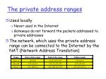 the private address ranges