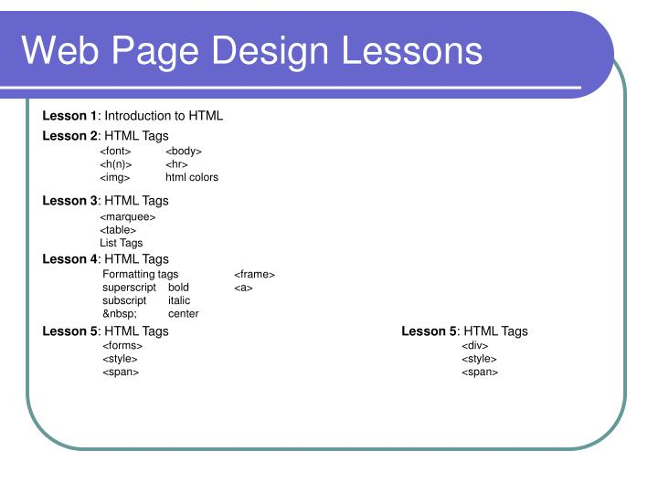 web page design lessons n.