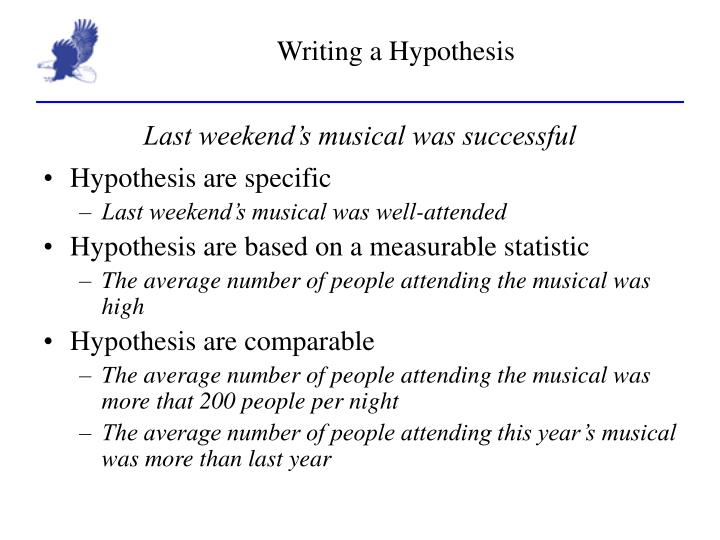 writing a hypothesis A continuation of our discussion about observations and science questions this video explains the purpose of a hypothesis and how to construct one.