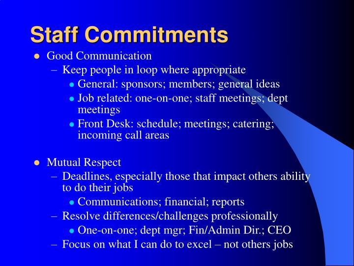 Staff Commitments